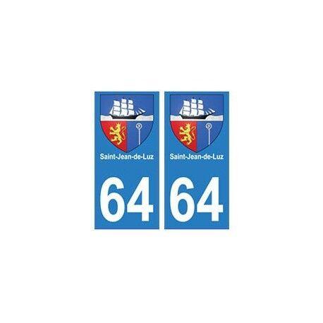 64 Saint-Jean-de-Luz autocollant plaque immatriculation ville -  Angles : droits