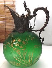 Antique Silver Plated Jug/Pitcher Moss Green Glass, circa 1900s