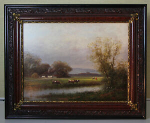 Peter negyesi (* 1920) Oil Painting Landscape Cows Mood Full