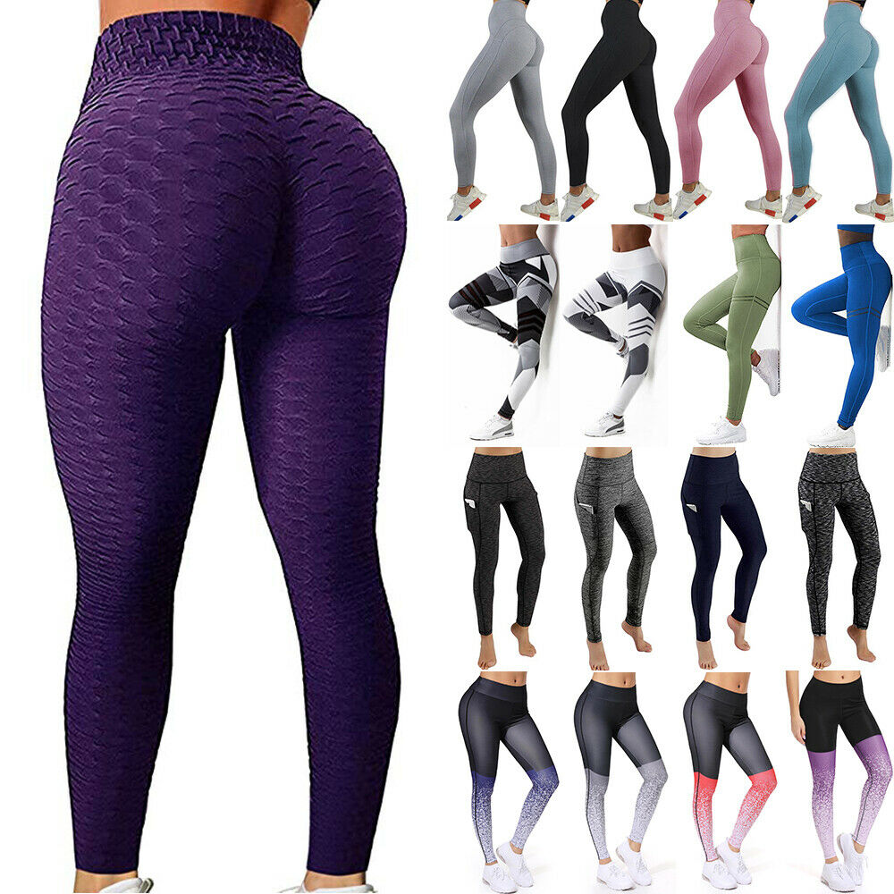 Women Butt Lift Yoga Pants High Waist Leggings Ruched Workout Booty Trousers US