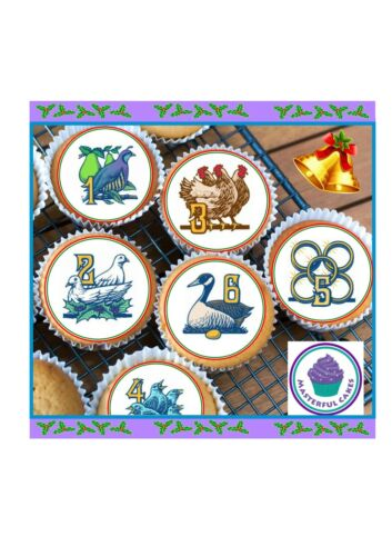 24 x 12 DAYS OF CHRISTMAS EDIBLE CUPCAKE TOPPER WAFER ICING AND PRE-CUT OPTIONS