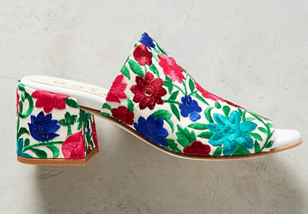 Anthropologie Embroidered Ouigal Phoebe Mule Slides Sandals Sz 38 US 7.5
