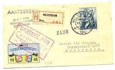 NETHERLANDS 1945-9-26  REG.  CARD=  RAKET POST = ROCKET MAIL= SPEC LABEL  VF