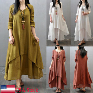 1dbabf0f83c4 USA Women Peasant Ethnic Boho Cotton Linen Long Sleeve Maxi Dress ...