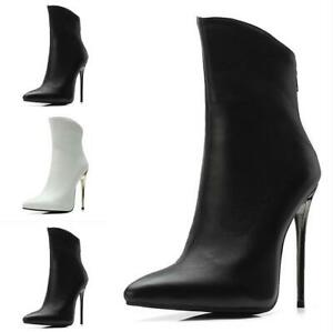 Womens-Ladies-Pointed-Toe-Ankle-Boots-High-Heels-Stiletto-Nightclub-Party-Shoes