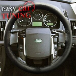 FOR-LAND-ROVER-FREELANDER-2-06-BLACK-REAL-GENUINE-LEATHER-STEERING-WHEEL-COVER