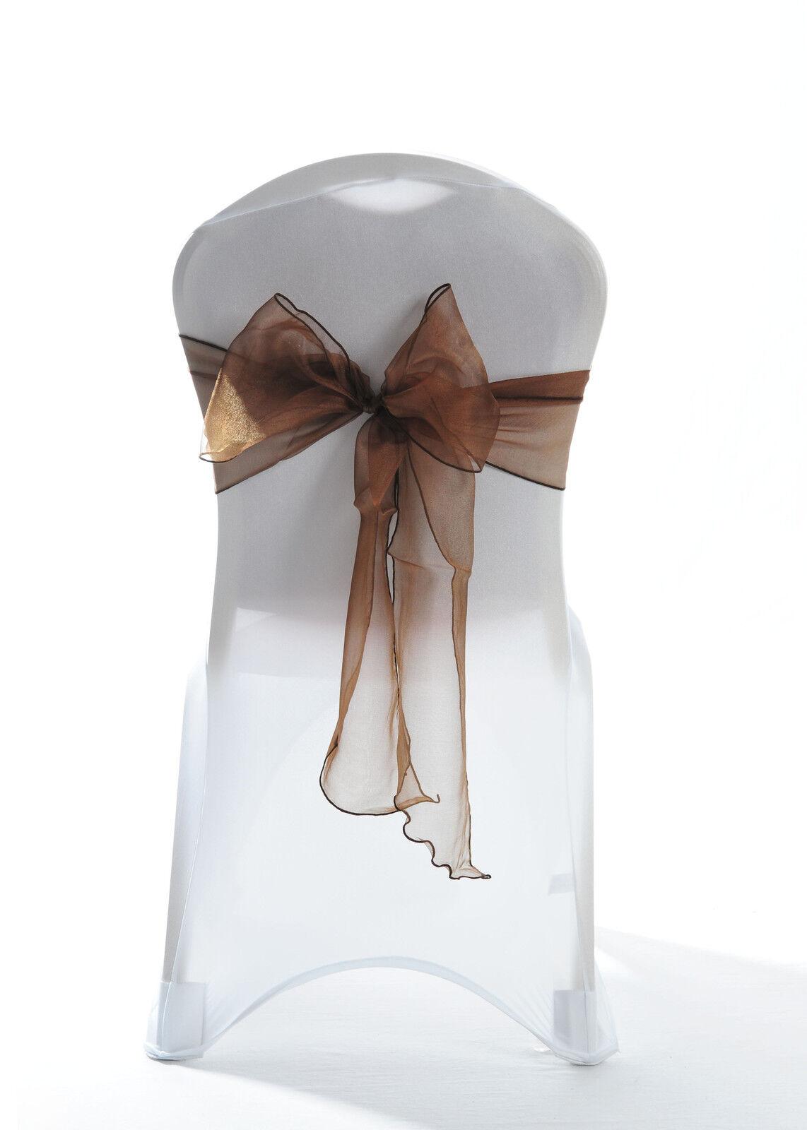 100 Chocolate Dark braun Sparkle Organza Chair Cover Bow Sash Wedding UK