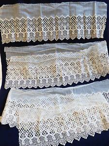"Antique handmade net lace Ecru Embroidery 8.5"" Scalloped Filet 1.11 yd 3 pcs lot"