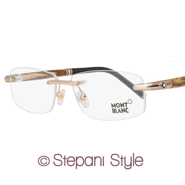 Montblanc Rimless Eyeglasses MB491 028 Size: 56mm Rose Gold/Zebrano Wood 491