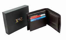 ID Pocket Gift Boxed RGX05 Black Mens Genuine Leather Wallet Purse With 6 Cards