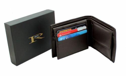 ID Pocket Gift Boxed RGX05 Brown Mens Genuine Leather Wallet Purse With 6 Cards