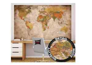 World map wall paper poster antique hanging vintage retro old school la imagen se est cargando cartel de papel de pared mapa del mundo gumiabroncs Images