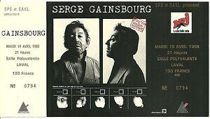 RARE-TICKET-DE-CONCERT-SERGE-GAINSBOURG-LIVE-A-LAVAL-1988-COMME-NEUF