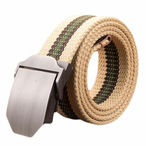 Ayli Men/'s Webbed Belt Metal Buckle Casual Canvas Belt with Key Chain