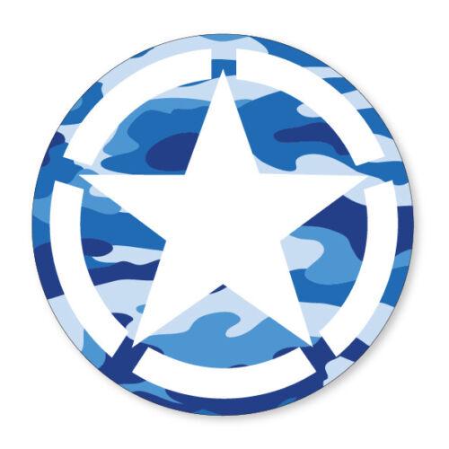 Flag Car Van Lorry vinyl Self Adhesive stickers 2 x BLUE CAMO STAR