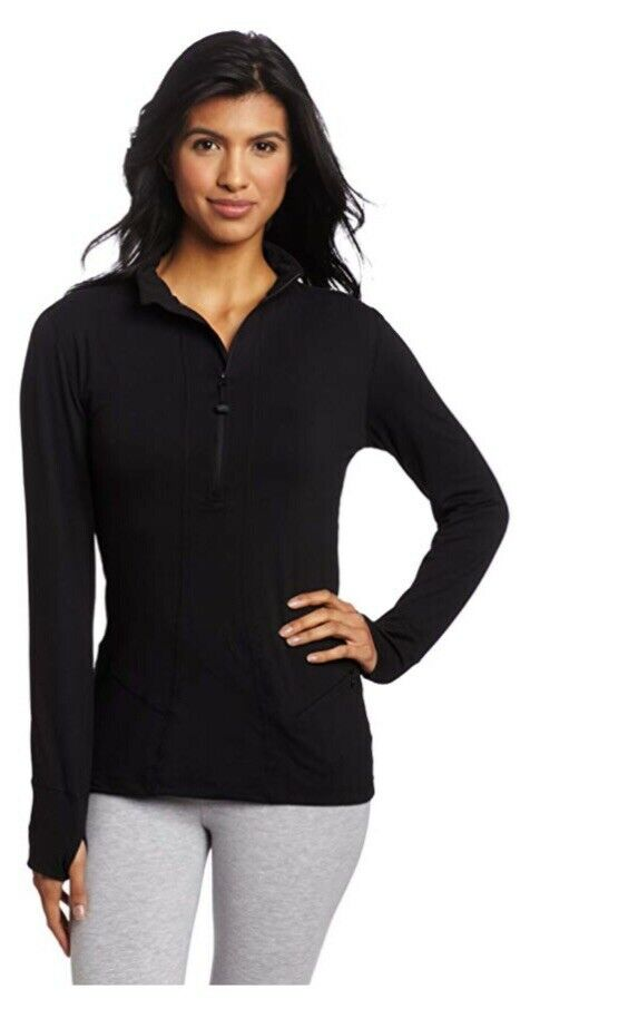 Terramar Womens Cloud Nine Thermal Half Zip 2.0 Top Black XS Moisture Management