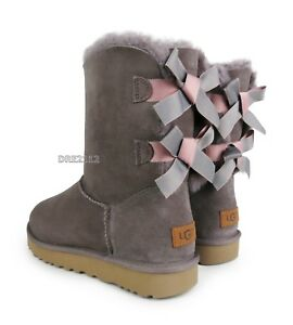 06027a969c9 Details about UGG Bailey Bow II Shimmer Stormy Grey Suede Fur Boots Womens  Size 8 *NIB~