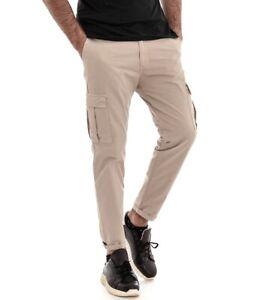 Pantalone-Uomo-Cargo-Tasca-America-Beige-Tinta-Unita-Cotone-Casual-GIOSAL