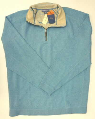 NWT Tommy Bahama 1//4 Zip Reversible Blue Gray Sweater Mens XLT 3XB 2XT 2XB