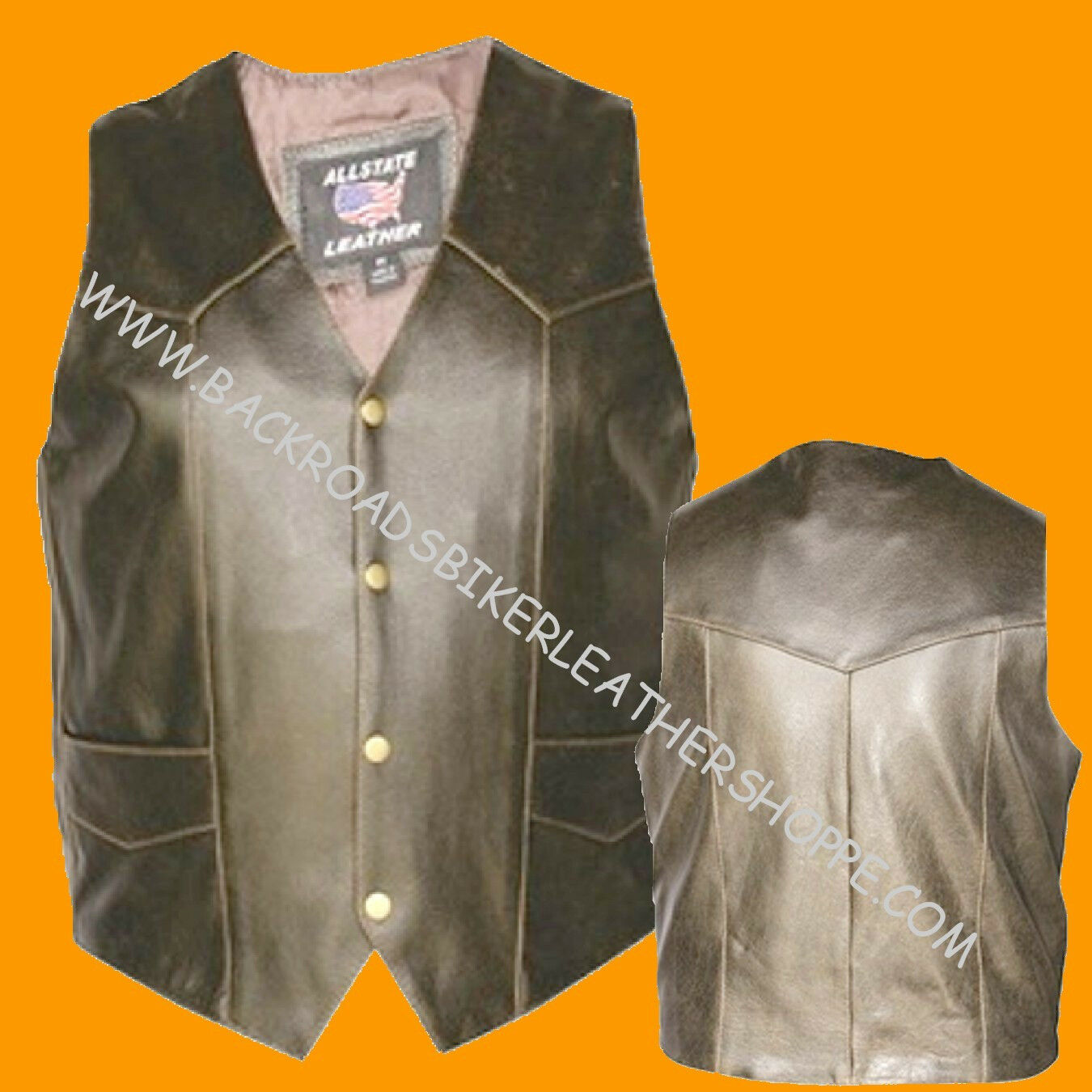 Mens Classic Retro Brown Buffalo Leather Vest Club Motorcycle Biker Western