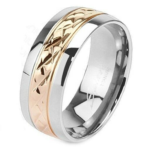 Solid Titanium with Rose Gold IP Strip Comfort-Fit Mens Wedding Band Ring 8 mm