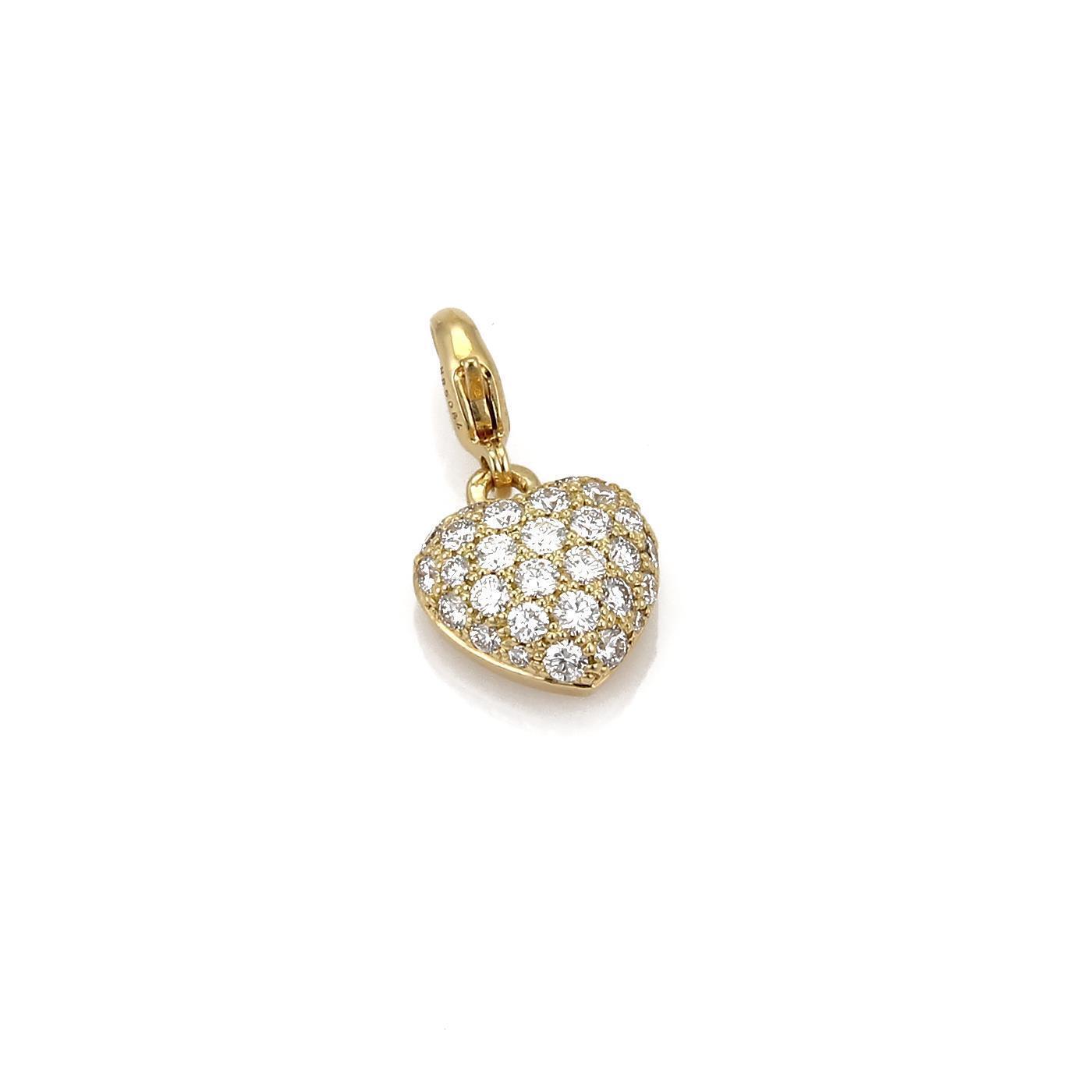 68fc01e19 Pave Diamond 18k gold Heart Charm Pendant Cartier Yellow nvwxrb2881 ...