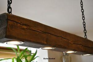 Rustikale-Haengelampe-Deckenlampe-aus-alten-Holzbalken-4x-LED-HANDGEFERTIGT