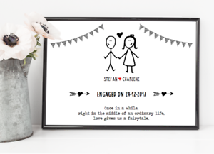 Personalised Engagement gift UK Seller Personalised Engagement Print Fast Del