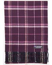 100% Cashmere Scarf Purple White Check Tartan Plaid Scottish Wool Women H28