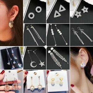 Fashion-Geometric-Tassel-Pearl-Crystal-Women-Stud-Earrings-Dangle-Drop-Jewellery