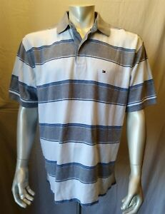 76f7a0a56ca33 Tommy Hilfiger White Grey Striped Men s Casual Cotton Pique Polo ...