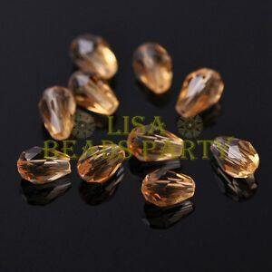 New-50pcs-7X5mm-Teardrop-Faceted-Crystal-Glass-Spacer-Loose-Beads-Champagne