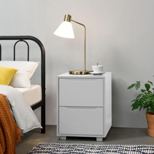 en.casa Nachttisch mit 2 Schubladen Nachtkommode Beistelltisch Büro Weiß