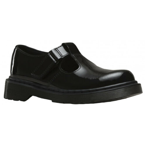 Dr.Martens Goldie Black Kids Patent Lamper Leather T-Bar Shoes