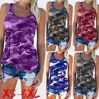 Women Fashion Casual Army Camo Camouflage Tank Top Sleeveless O-neck Shirt F