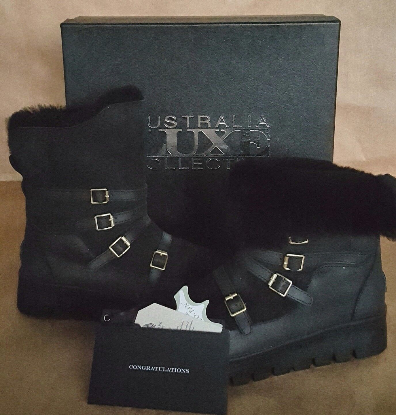 New 195. Australia Luxe Collective Currie Boots 9 Leather Suede Shearling Boots