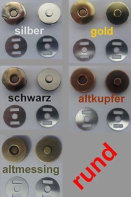 10 Stk. Magnetverschlüsse, Magnetknöpfe, rund, 18 mm (0,64 EUR pro Stück)