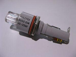 Qty-1-Bussmann-FHL17G1-Fuse-Holder-With-NE2-Indicator-Light-20A-90-250V-NOS