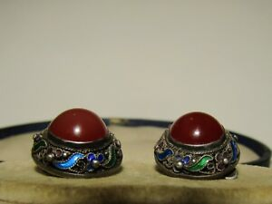 SUPERB-ANTIQUE-CHINESE-STERLING-SILVER-ENAMEL-EARRINGS-WITH-FINE-CARNELIAN