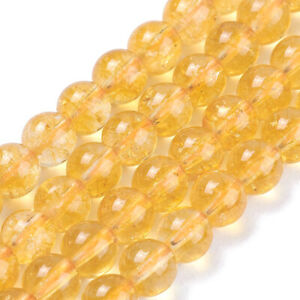 3Strds Natural Citrine Quartz Stone Beads Round Smooth Semi Gems Loose Beads 6mm
