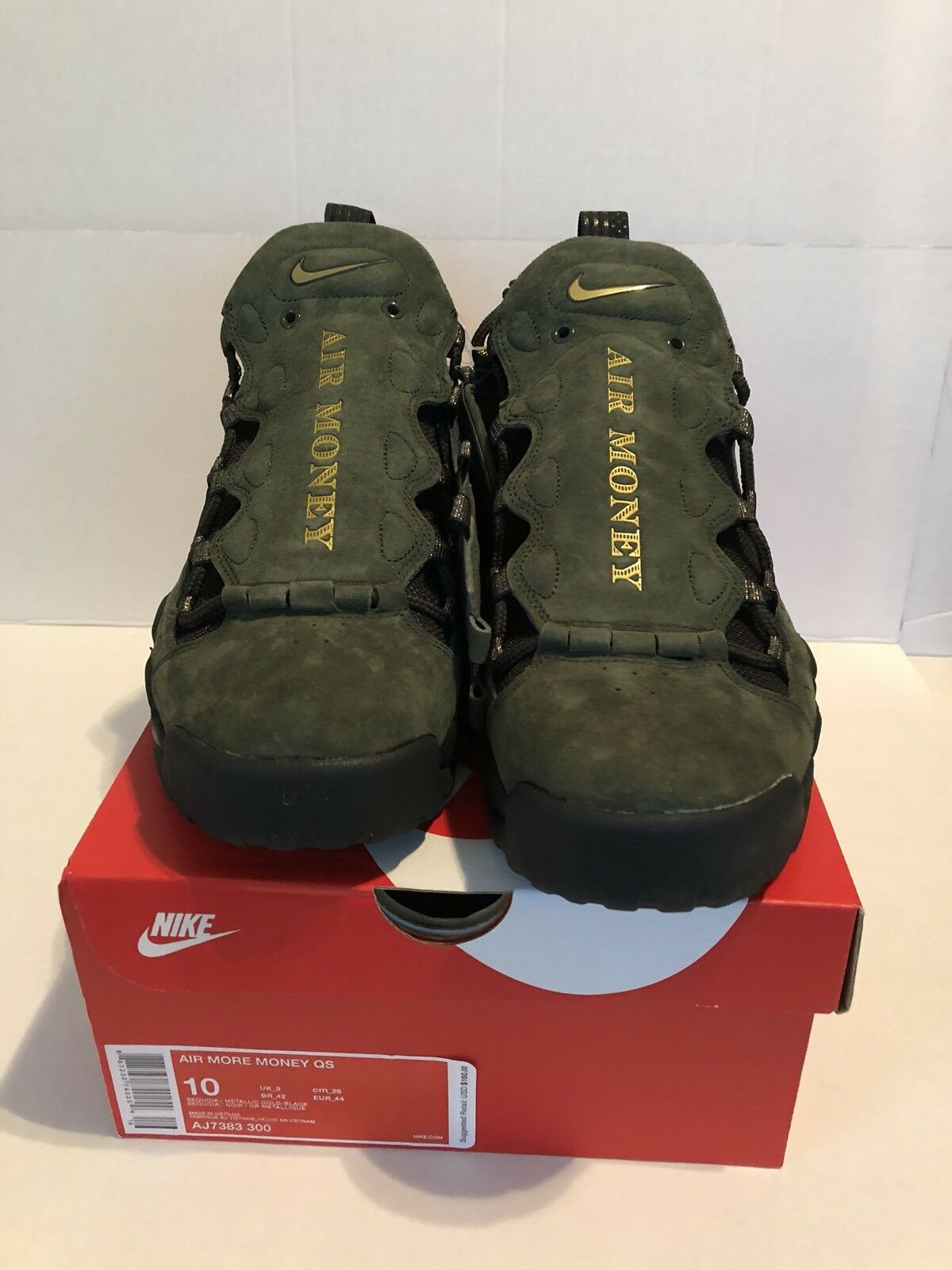 Nike Air More Money QS 2018 Currency Pack US Dollar AJ7383-300 Size 10