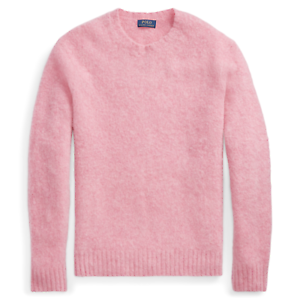 Details about Polo RALPH LAUREN Men's Pink Suede Elbow Patch WoolCashmere Jumper Sweater sz L