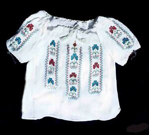 """Romanian Folk Blouse Embroidered Red-Yellow-Blue flag colors 48"""" around chest"""