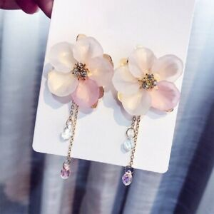 Fashion-Crystal-Flower-Drop-Dangle-Earrings-Pink-Long-Chain-Women-Jewelry-Gift