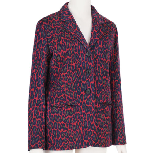 Leopard Jacket Blazer Christopher Uk8 Ponte Print It40 Wool Kane Red FxnqEWC