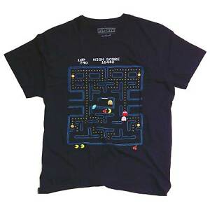 Classic-Video-Game-T-Shirt-Pac-Man-100-Official-Arcade-Namco-Old-Skool