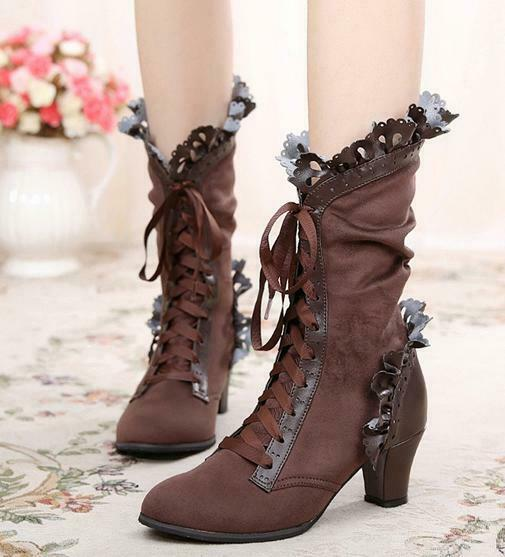 Sweet Sweet Sweet Lolita Womens Lace Ankle Boots Bow High Heel Lace Up Party shoes High 7e0e31