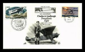 DR JIM STAMPS US LINDBERGH FLIGHT ANNIVERSARY COMBO FDC COVER UNSEALED