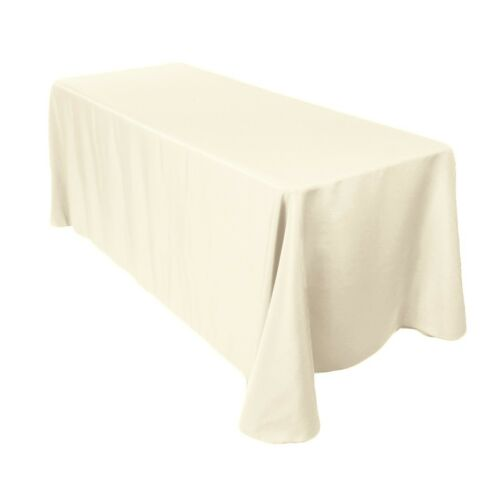 Rectangle Plain Table Cloth Cotton Wedding Dining Tableware Linen 90 x 156 Inch