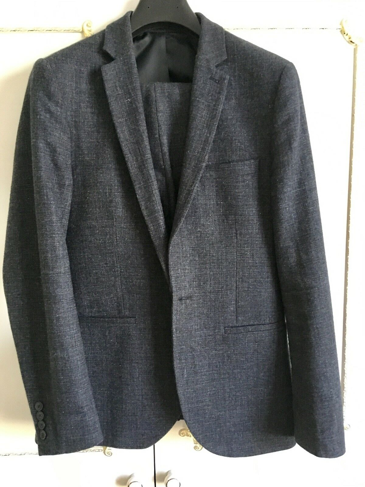 Top Man Men's Dark bluee wool 2 piece suit - chest 38